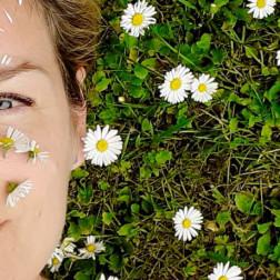 Frau liegt in der Wiese mit Gänseblümchen im Gesicht
