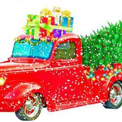Zeichnung Pickups mit Weihnachtsgeschenken und Christbaum