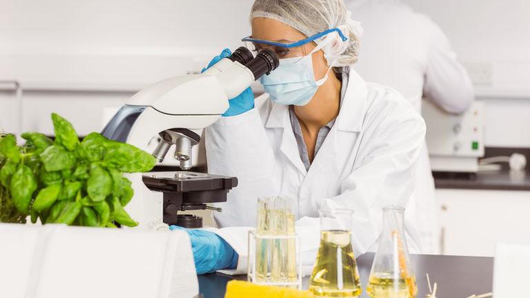 Forscher vor dem Mikroskop