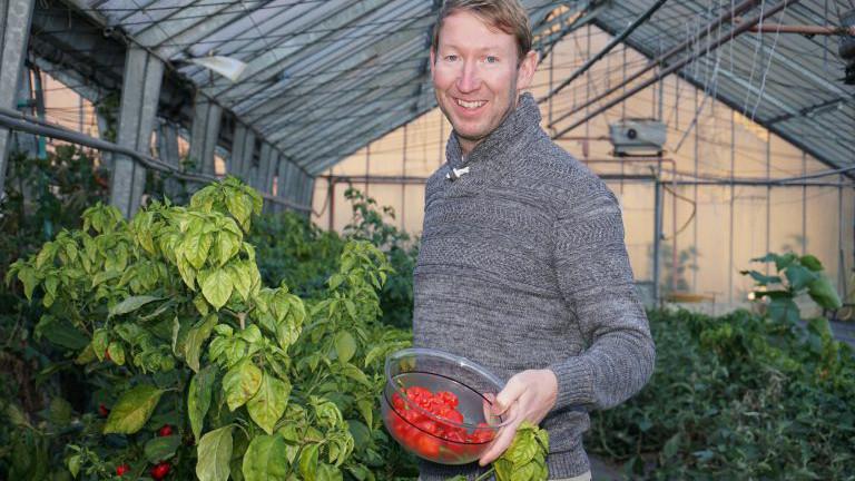 Thomas Schauer von Juliberg mit frisch geernteten Chilis