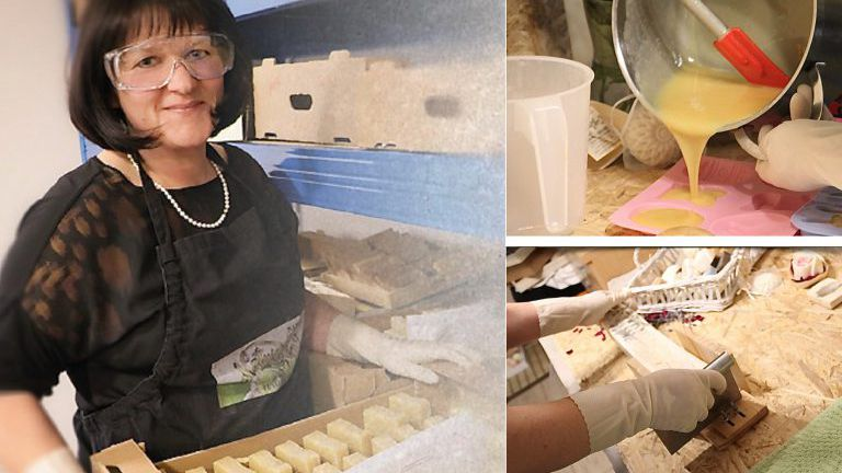 Frau mit Schutzbrille bei der Herstellung von Seifen