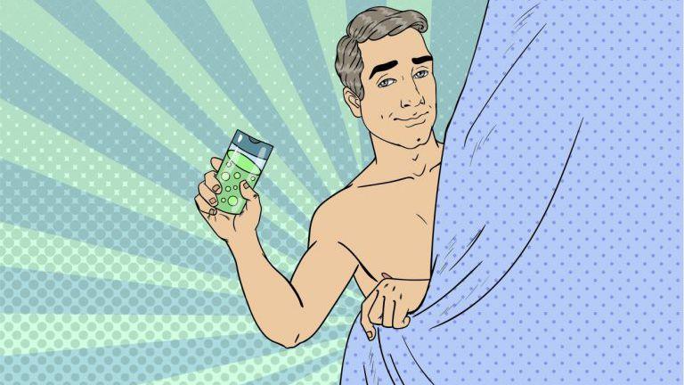 Zeichnung Mann hinter Duschvorhang