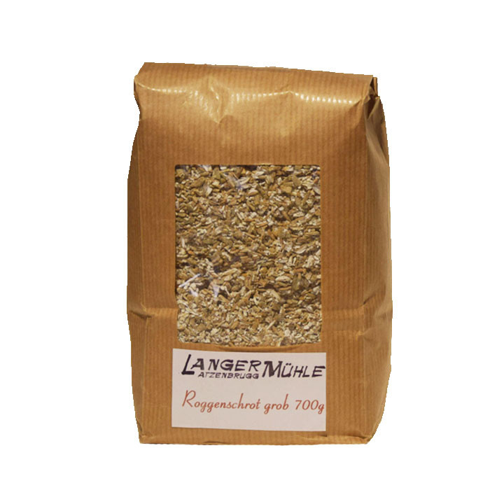Roggenschrot fein oder grob Der Roggenschrot kann beim Backen von Brot oder Gebäck verwendet werden. Aber auch als Beigabe  zum Müsli schmeckt Roggenschrot hervorragend  und ist gesund.