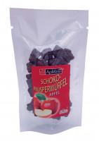 Getrocknete Apfelwürfel dragiert mit dunkler Schokolade