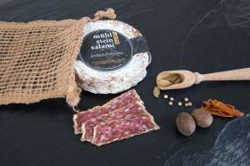 Mühlsteinsalami 200g, aus besten Bioschweinefleisch und mit edlen Rohgewürzen