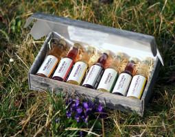 Geschenkbox 7 Probierflaschen in hübscher Holzoptikschachtel