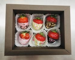 6er Box Erdbeeren im Schokomantel