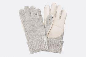 Fingerhandschuhe mit Lederbesatz