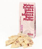 Weise Schokolade & Rosenblüten & rotem Pfeffer