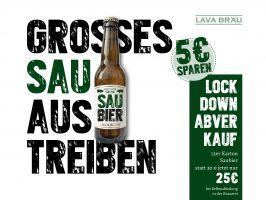 """12er Karton Bio Lava Bräu """"SAUBIER"""", 0,33l"""