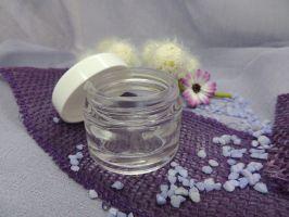 Cremetiegel Glas klar Deckel weiß