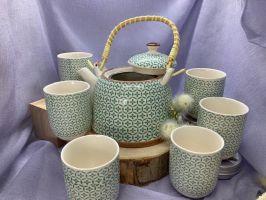 Keramik-Teekannen-Set türkis