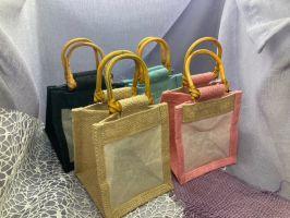 Jute-Geschenktasche mit Baumwollsichtfenster