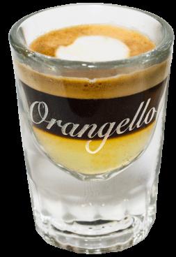 Schönbrunner Espresso:  1 cl Orangello, dazu Ristr...