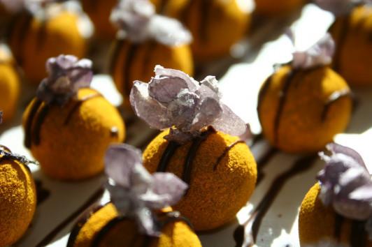 Kaffee und Orange Konfekt mit Fliederblüten