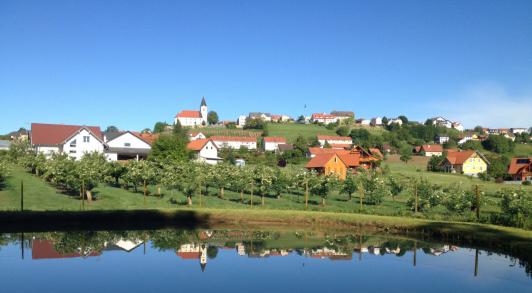wunderschöne Aussicht in den Ort St. Anna am Aigen...