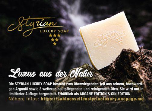 Styrian Luxury Soap Argane GIN HANF Luxus Seife Ha...