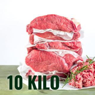 Unser 10 Kilo Mischpaket beihaltet alles was die Küche braucht. Beiried, Braten, Gusto, Gulasch, Siedefleisch und Faschiertes. Optional kann Gulasch und/oder Siedefleisch auch faschiert werden. Styria Beef ist Jungrind aus Mutterkuhhaltung. Es wurde geboren, aufgezogen und geschlachtet am Bio-Hof Ellersbacher.