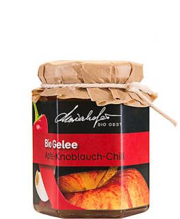 Zutaten: Bio-Äpfel, Bio-Zucker, Wasser, Geliermittel: Apfelpektin, Bio-Knoblauch, Bio-Chilischoten