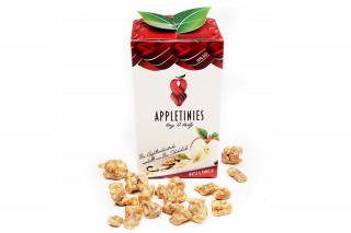 Schonend getrocknete Bio-Apfelstücke, umhüllt von zart schmelzender weißer Bio Schokolade mit Bio Vanille.  Weiße Schokolade und Vanille sind ein sanftes Traumpaar, ein Klassiker unter den Genuss-Duos. Erlebe, wie der knackig frische Apfel Sie animiert, in freudigem Taumel zu tanzen.