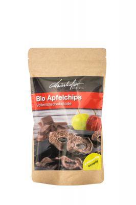 Zutaten: 58% getrocknete Äpfel, Kakaomasse, Zucker, Kakaobutter, Vollmilchpulver, Emulgator: Sojalecithin (kann enthalten: Milch), mind. 34,4% Kakaoanteil in Vollmilch-Schokolade.