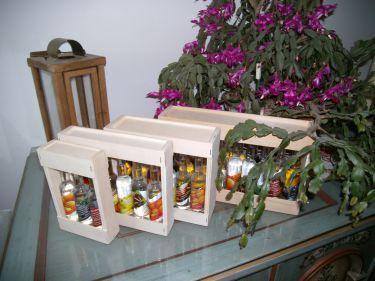 Diese Boxen gibt es auch als Leerboxen für 6, 12 und 18 Kleinflaschen- die Auswahl der Flaschen können Sie dann frei wählen