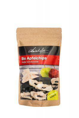 Zutaten: Bio-Äpfel getrocknet, Bio-Rohrzucker, Bio-Kakaobutter, Bio-Vollmilchpulver, Emulgator: Sojalecithin (kann enthalten: Milch), mind. 29% Kakaoanteil in weißer Schokolade