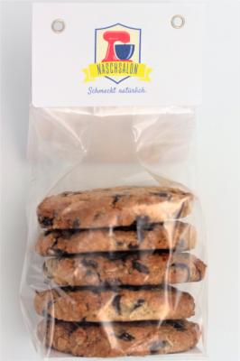 Zwei Packungen a450g  Chocolat Chip Cookies  Zutaten: 19% Weizen, 19% Schokolade Callebeut, 19% Haferflocken, 12% Mandeln, 12% Zucker, 2% Eigelb pasteurisiert, 3% Eiweiß; Allergene: Weizen, Schokolade, Mandeln, Eigelb, Eiweiß und Spuren von Laktose und Soja