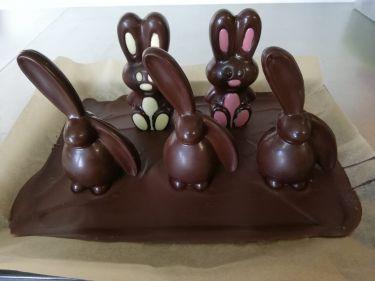 Schlappohrhase und Stehohrhase in Vollmilchschokolade,  Symbolfoto, Figuren können nur in einer Schokoladensorte ( Weiß, Vollmilch, Dunkler oder Ruby Schokolade ) bestellt werden.