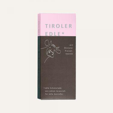 Edelbitterschokolade (Kakao: 60% mindestens) gefüllt mit 46% Ötztaler Preiselbeer-Creme.  Zutaten: Kakaomasse, Zucker, Kakaobutter, 8% FRISCHRAHM, 5% Preiselbeerlikör, 4% Preiselbeeren, Honig, 1% VOLLMILCHPULVER, Emulgator: SOJA-LECITHIN, natürliche Vanille.  Alkoholhaltig. Spuren von Schalenobst können vorhanden sein.  Durchschnittliche Nährwerte pro 100 g: Energiewert: 2070 kJ / 498 kcal Fett: 34 g davon gesättigte Fettsäuren: 21 g Kohlenhydrate: 40 g davon Zucker: 37 g Eiweiß: 4,3 g Salz: 0,01 g
