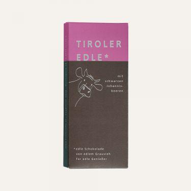 Edelbitterschokolade (Kakao: 60% mindestens) gefüllt mit 46% Schwarze-Johannisbeer-Creme.  Zutaten: Kakaomasse, Zucker, Kakaobutter, FRISCHRAHM, 5% Johannisbeermark, VOLLMILCHPULVER, Fructose-Glucose-Sirup, 2% Johannisbeerlikör, 2% Johannisbeerbrand, Emulgator: SOJA-LECITHIN, natürliche Vanille.  Alkoholhaltig. Spuren von Schalenobst können vorhanden sein.  Durchschnittliche Nährwerte pro 100 g: Energiewert: 2085 kJ / 502 kcal Fett: 35 g davon gesättigte Fettsäuren: 21 g Kohlenhydrate: 38 g davon Zucker: 35 g Eiweiß: 4,9 g Salz: 0,03 g