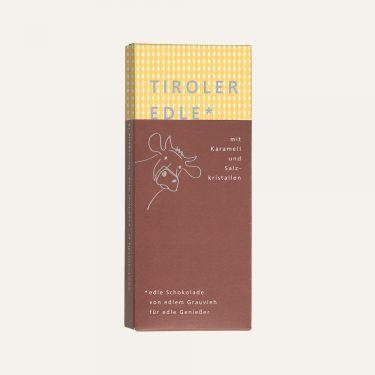 Milchschokolade (Kakao: 39% mindestens) gefüllt mit 46% Karamell-Creme, verfeinert mit Salzkristallen.  Zutaten: Zucker, Kakaobutter, VOLLMILCHPULVER, FRISCHRAHM, Kakaomasse, BUTTER, Honig, Salz, Emulgator: SOJA-LECITHIN.  Spuren von Schalenobst können vorhanden sein.  Durchschnittliche Nährwerte pro 100 g: Energiewert: 2164 kJ / 521 kcal Fett: 37 g davon gesättigte Fettsäuren: 22 g Kohlenhydrate: 40 g davon Zucker: 37 g Eiweiß: 4,6 g Salz: 0,99 g