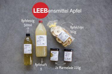 Lebensmittel Apfel Apfelessig Apfelchips Apfelmarmelade Marmelade naturtrüb